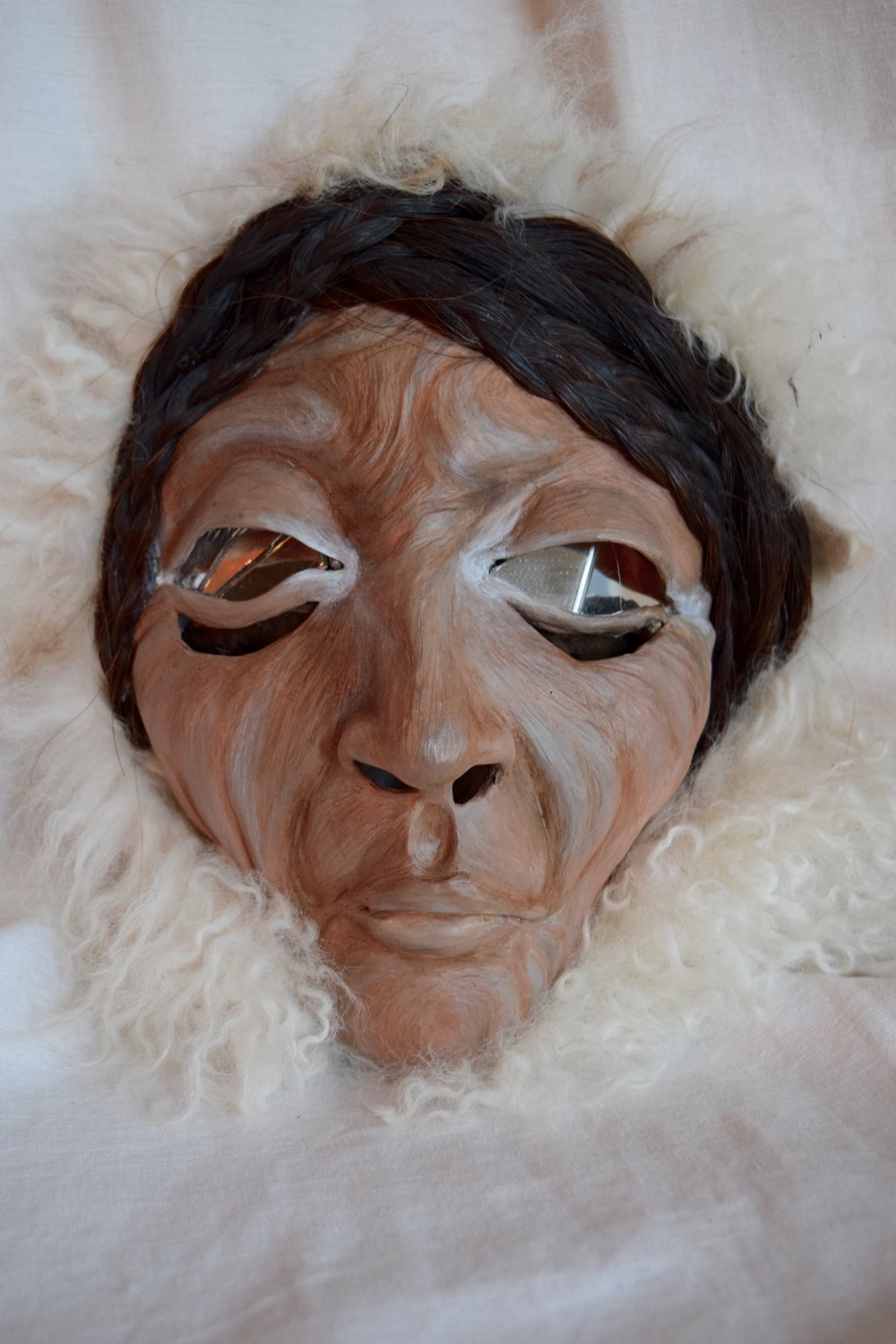 Winter Queen, 2015. Clay, Mongolian sheep hide, horse hair, mirror, acrylic