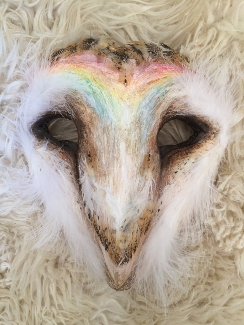 Rainbow Owl, 2016. Plaster wrap, barn owl & chicken feather, acrylic, gesso Sold