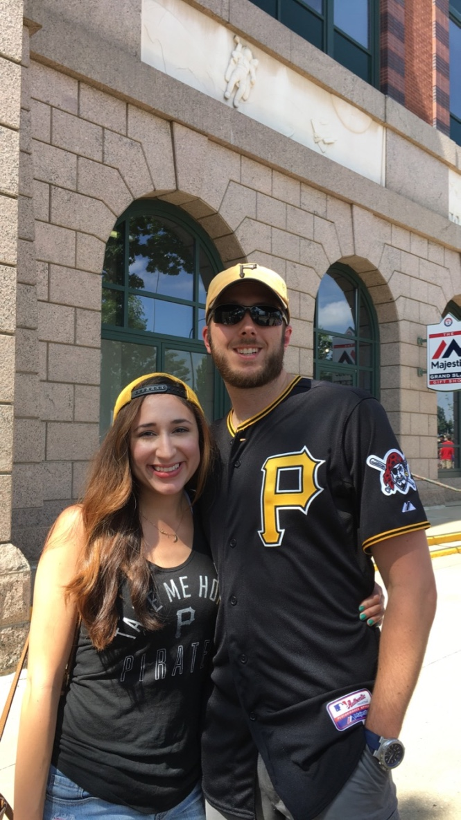 Genevieve and I taking in a Pirates game.   Globe Life Park (The Ballpark in Arlington), 2016