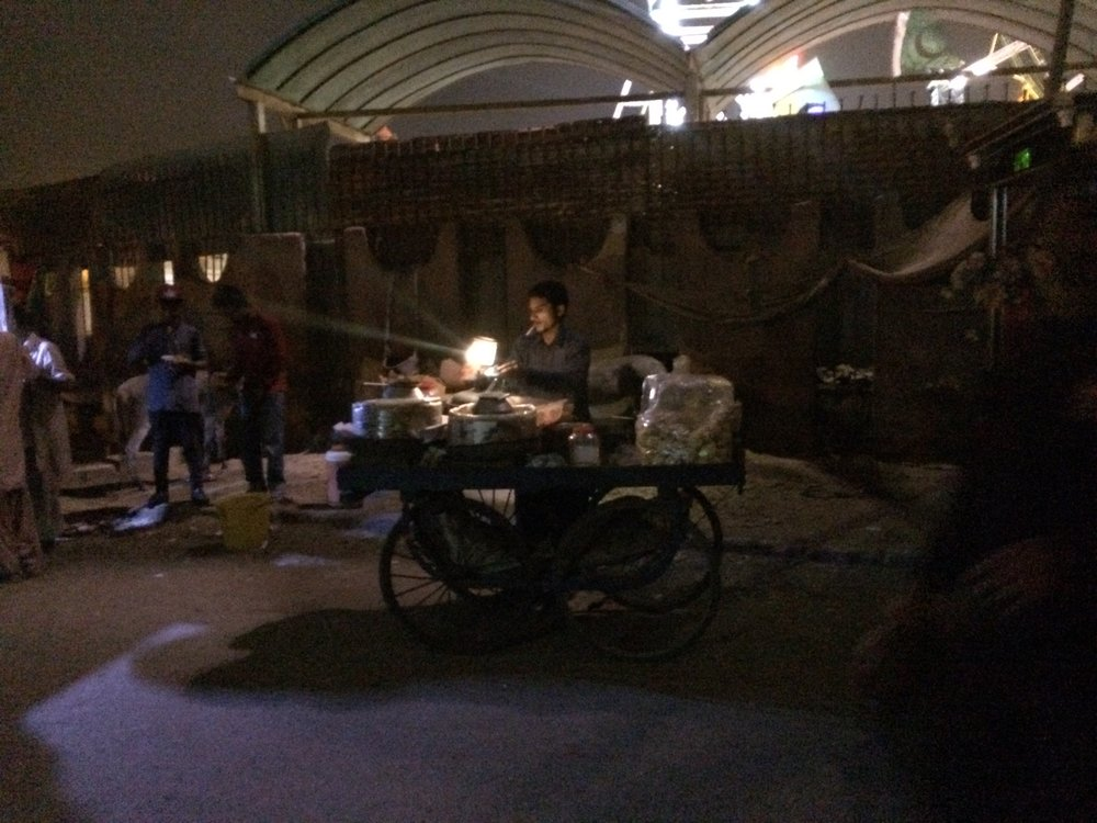 The cart seller hawking channa garam