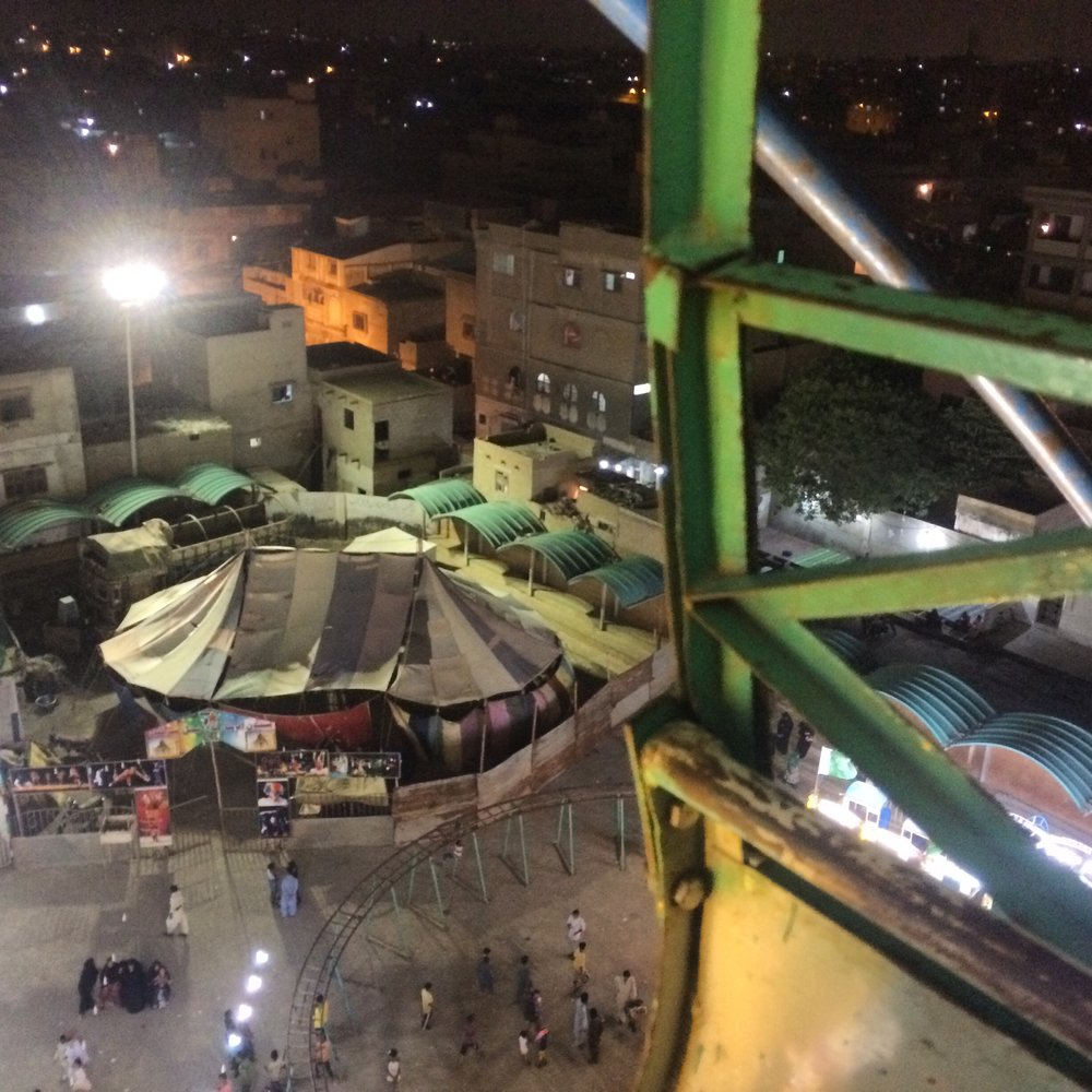 View from the ferris wheel of the mela below