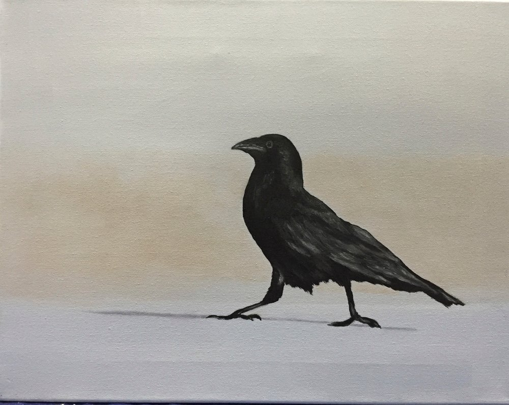 """Crow on the Beach, 12""""x14"""" SOLD"""