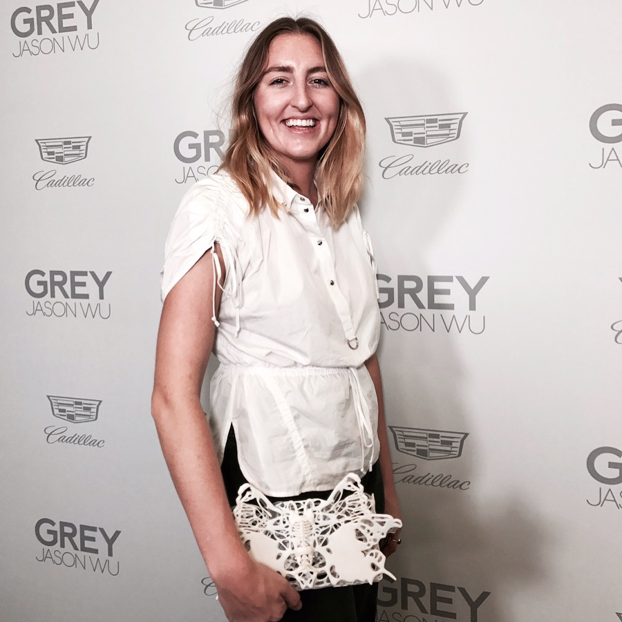 Chandler carrying Exoskeleton Fancy Clutch at Jason Wu Grey Out event. Sept. 2017