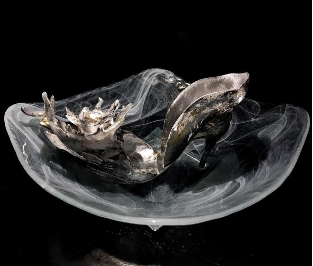 Inside a water bowl as an art installation