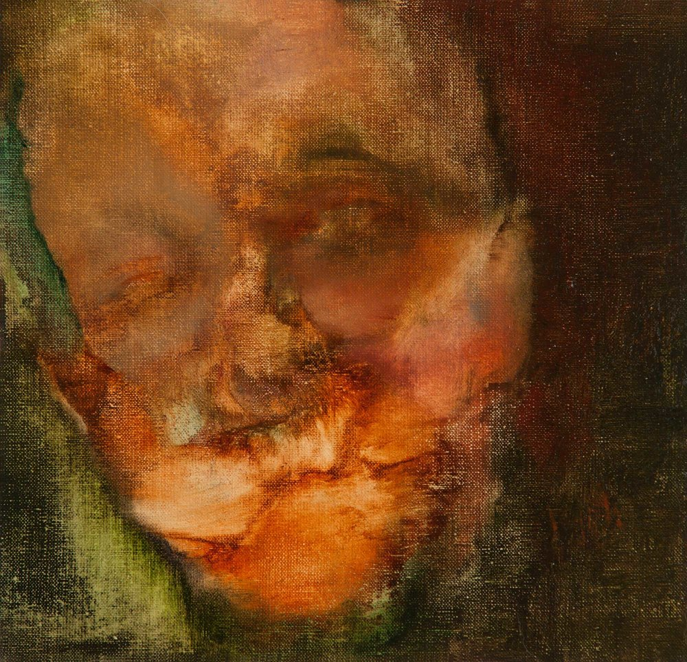 Head  oil on linen, 23.9cm x 23cm