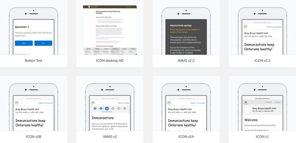Various prototypes created in Marvel for quickly testing the overall flow and more specific sections of the site.