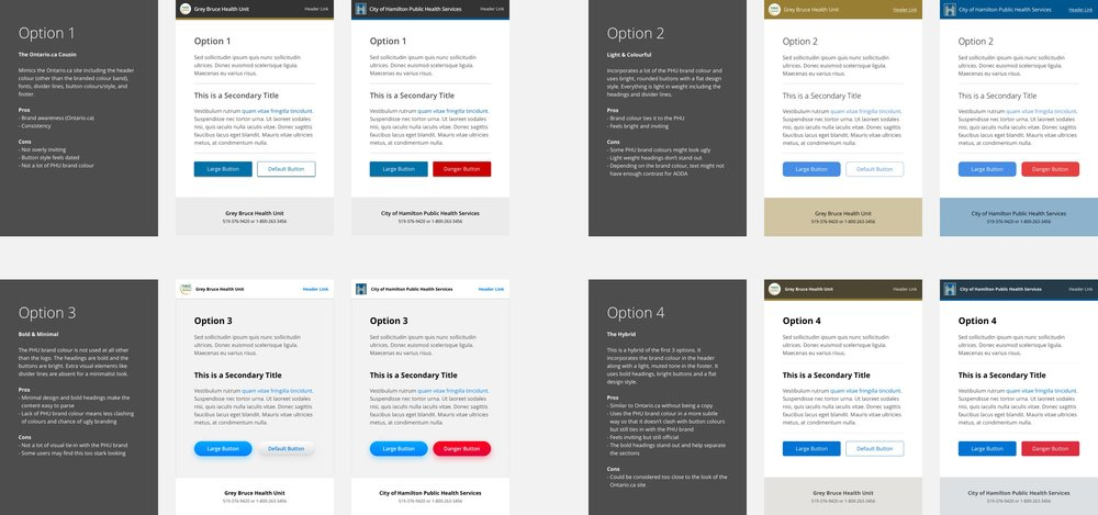 Some initial design options included prominent PHU brand colours in the header and footer while others were very monochromatic.