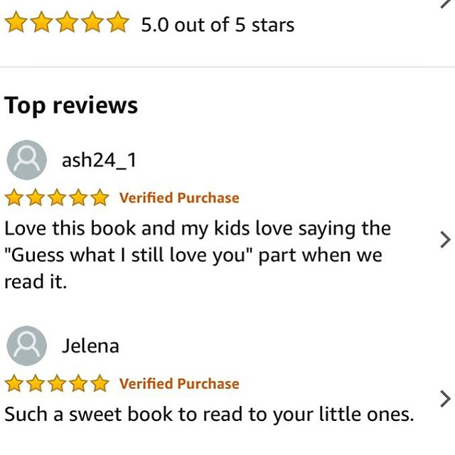 Amazon reviews! ⭐️⭐️⭐️⭐️⭐️ ❤️❤️❤️❤️❤️ 📕 Guess What? I Still Love You. Is available at link in bio and Amazon Prime • • • #guesswhatistillloveyou #amazonreviews #fivestars #valentinesdaygifts #childrensbooks #momlife #dadlife #parenting
