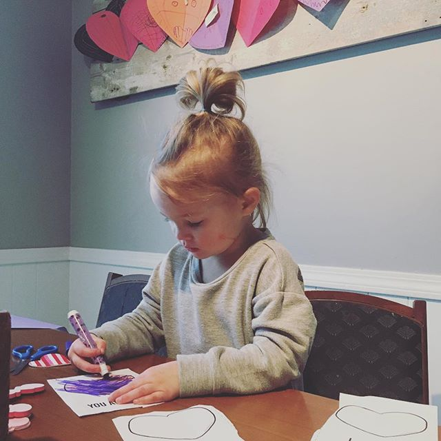 We get marker on our faces and can't color in the lines but we're working really hard to bring love to people this Valentine's Day! ❤️❤️❤️ Link in bio for FREE V-Day printouts! • • • #valentinesdayactivities #freekidsactivities #kidscrafts #guesswhatistillloveyou #momlife #dadlife #parenting #sharethelove #begoodtopeople