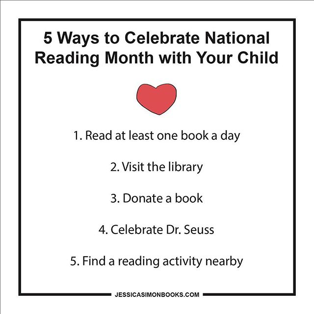 March is National Reading Month! Here's 5 fun ways to celebrate with your child. ❤️❤️❤️ Link in bio for full blog post • • • #nationalreadingmonth #5tips #readtokids #storytime #readingtime📖 #getinvolved