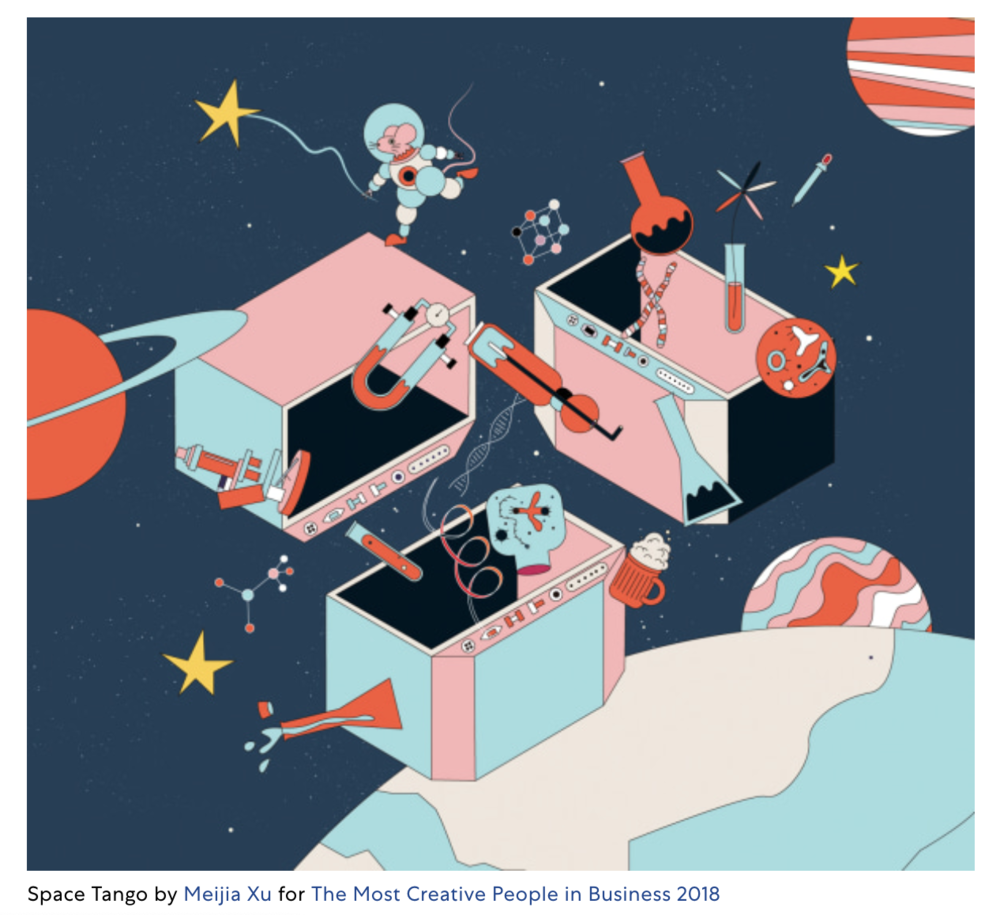 Fast Company's 25 favorite illustrations of 2018 - Take a look at some of the Fast Company Art Department's favorite illustrations from 2018. From our World's 50 Most Innovative Companies to Most Creative People in Business, we've tasked talented illustrators to visually interpret subjects ranging from pharmaceuticals to video game worlds to the Girl Scouts of America.It isn't a surprise that our favorite illustrations are stylistically varied–they span from whimsical complexity to thoughtful and nuanced. Take a look for yourself.