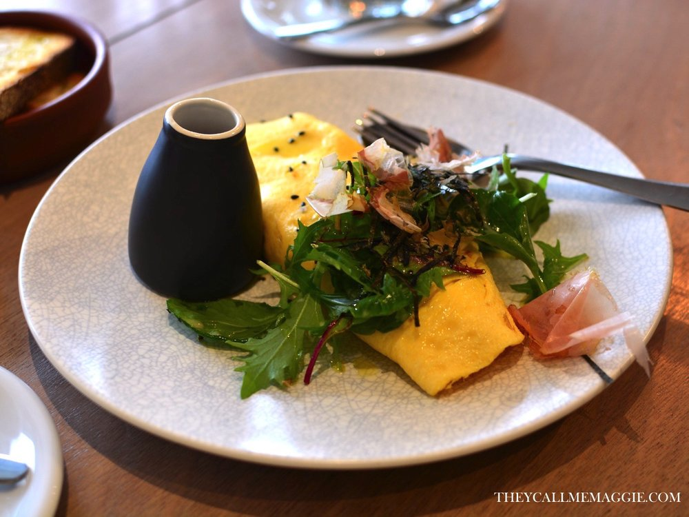 Omelette - with house-smoked hapuka, braised leek, shiitake mushrooms, kombu broth, nori, bonito flakes and mizuna salad