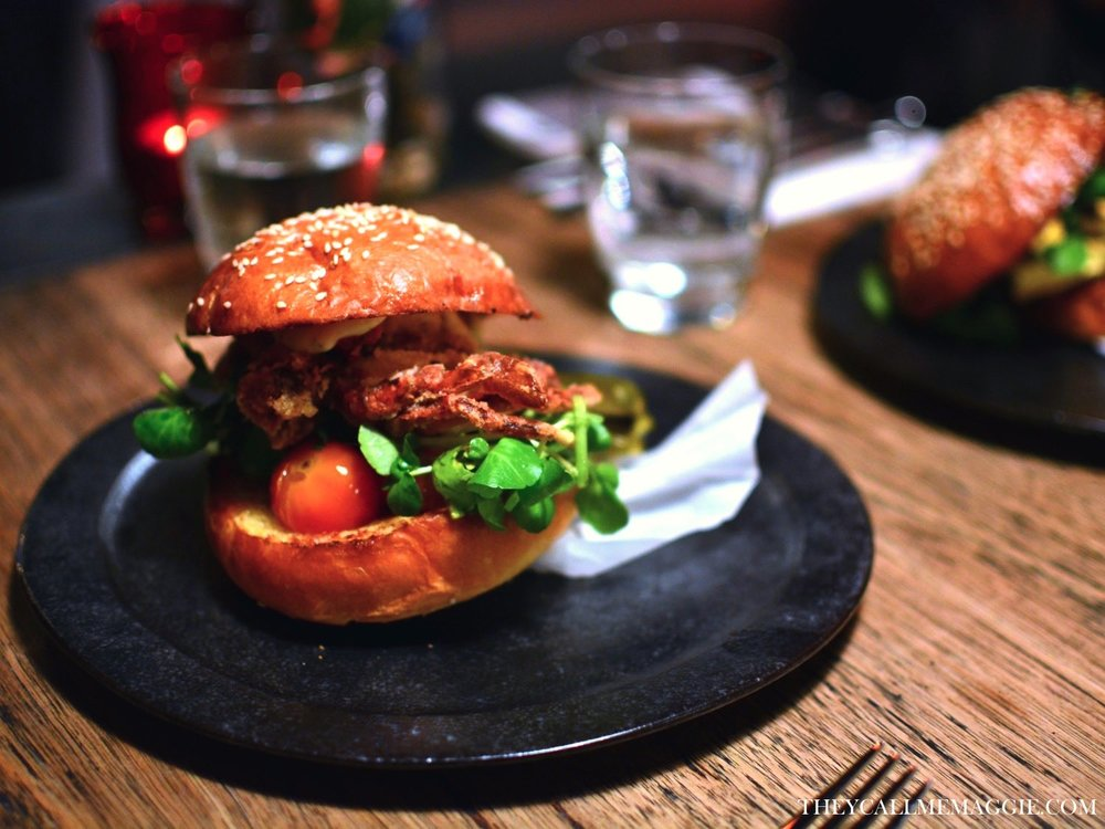 Soft shell crab burger with sauce Gribiche, confit tomatoes and watercress