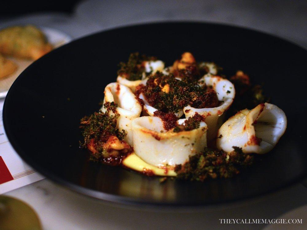 Grilled calamari with mussels, nduja and brocolli