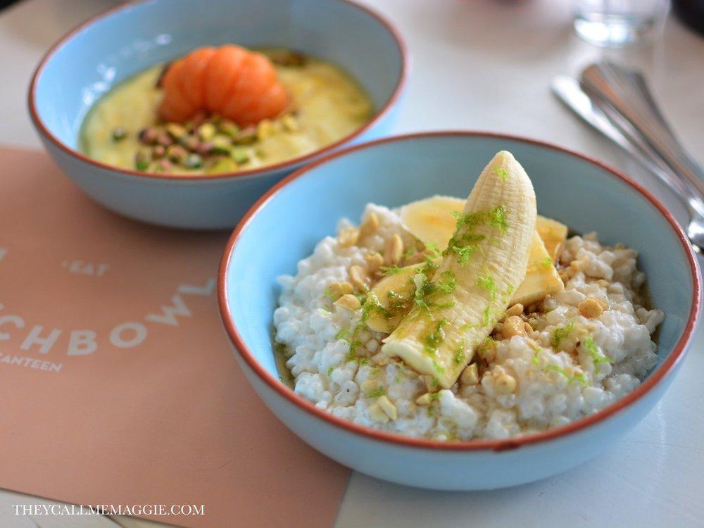 Semolina porridge with poached mandarin // Tapioca porridge with fresh lime zest, peanuts and coconut milk.