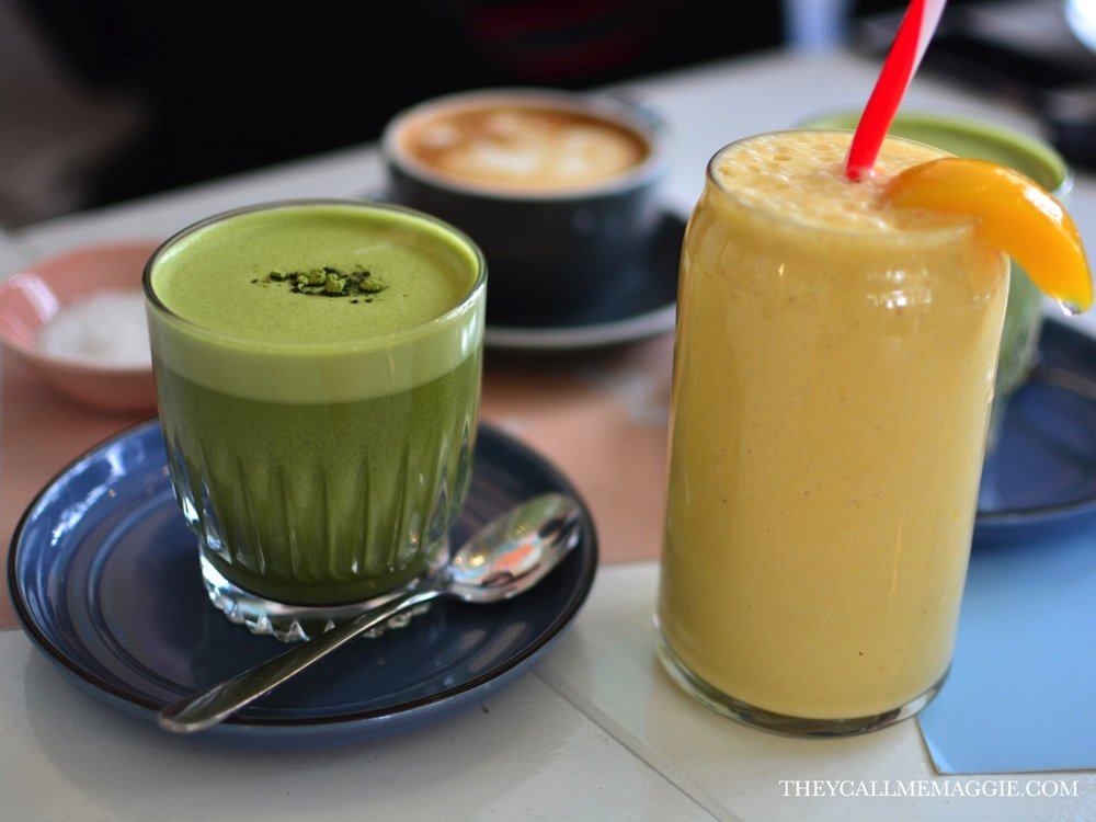 Matcha latte // Sunday Peaches with peaches, mango nectar and banana.