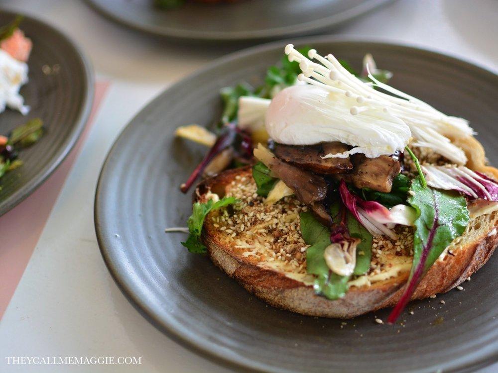 Warm pine mushrooms - with mascarpone, hazelnut dukkah, radicchio, parsley, poached eggs and toast.