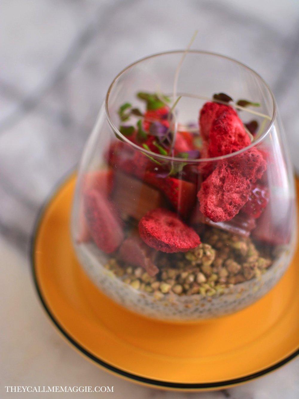 Chia seed pudding - with lemon curd, buckinis, rhubarb and strawberries.