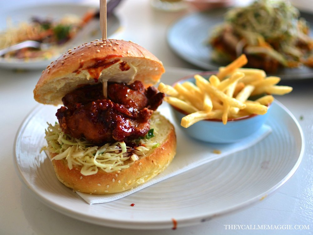 Korean fried chicken burger - with kimchi slaw, served with fries.