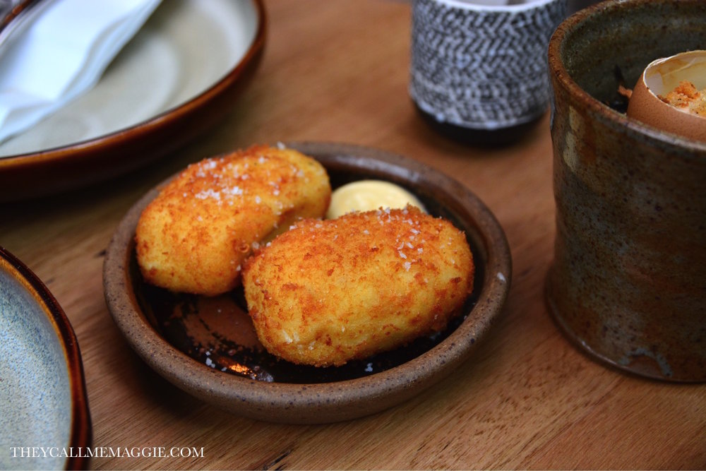 Blue Eye croquetas with fennel emulsion.
