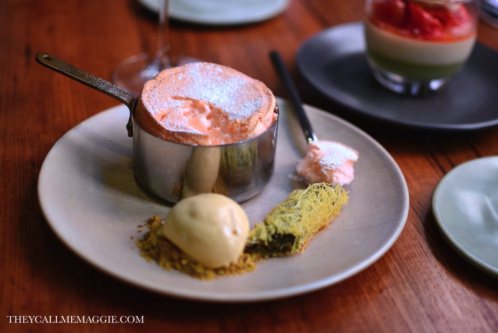 Turkish delight souffle - with pistachio baklava and halva ice cream.