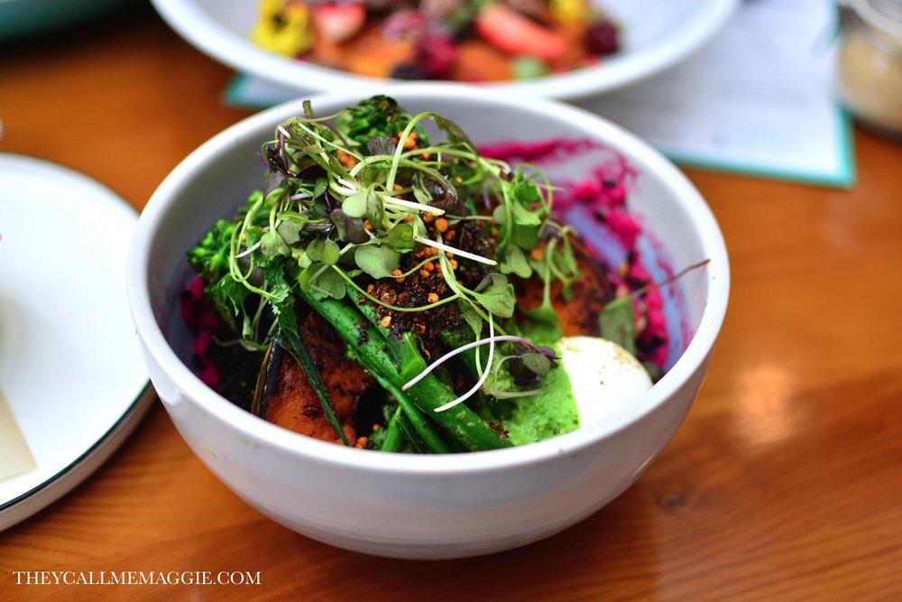 Hippy bowl - with broccolini, kale, pumpkin, crispy black rice, quinoa and black sesame, furikake, lemon tahini and beet skordalia.