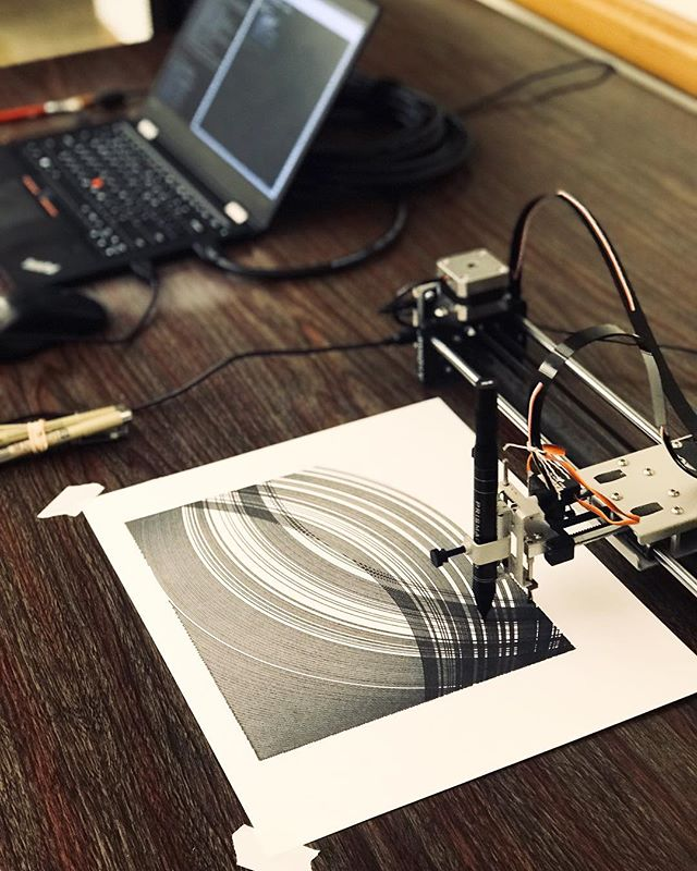 @tylerxhobbs has been using an AxiDraw Plotter to create beautiful Generative drawings. We went and saw Tyler give a talk about plotters and generative art at the Processing Austin Meetup a few weeks back.  Here are a few photos and videos (scroll to be mesmerized by a cool robot) of that day.  This Saturday he will be talking more about Generative Art during Processing Community Day at DataGeeek HQs. It will be a day full of workshops, talks and demos! If you're interested you can get tickets in Eventbrite, just look for Processing Community Day!  #generativeart #tylerhobbs #processing #AxiDraw #creativecoding #austin #atx #meetup #drawing #penplotter #plotter