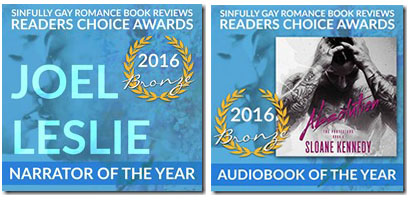 WINNER, SINFULLY GAY ROMANCE BOOK REVIEWS  NARRATOR OF THE YEAR/AUDIOBOOK OF THE YEAR 2016
