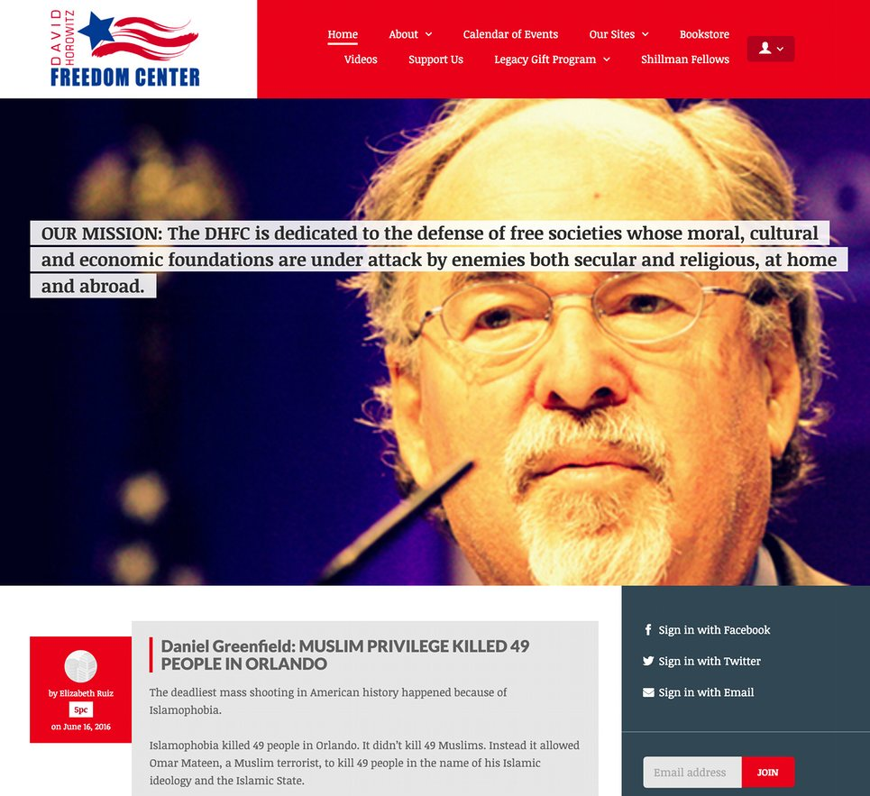 The website of the David Horowitz Freedom Center, as seen on 20 June 2016. Photograph: http://www.horowitzfreedomcenter.org/