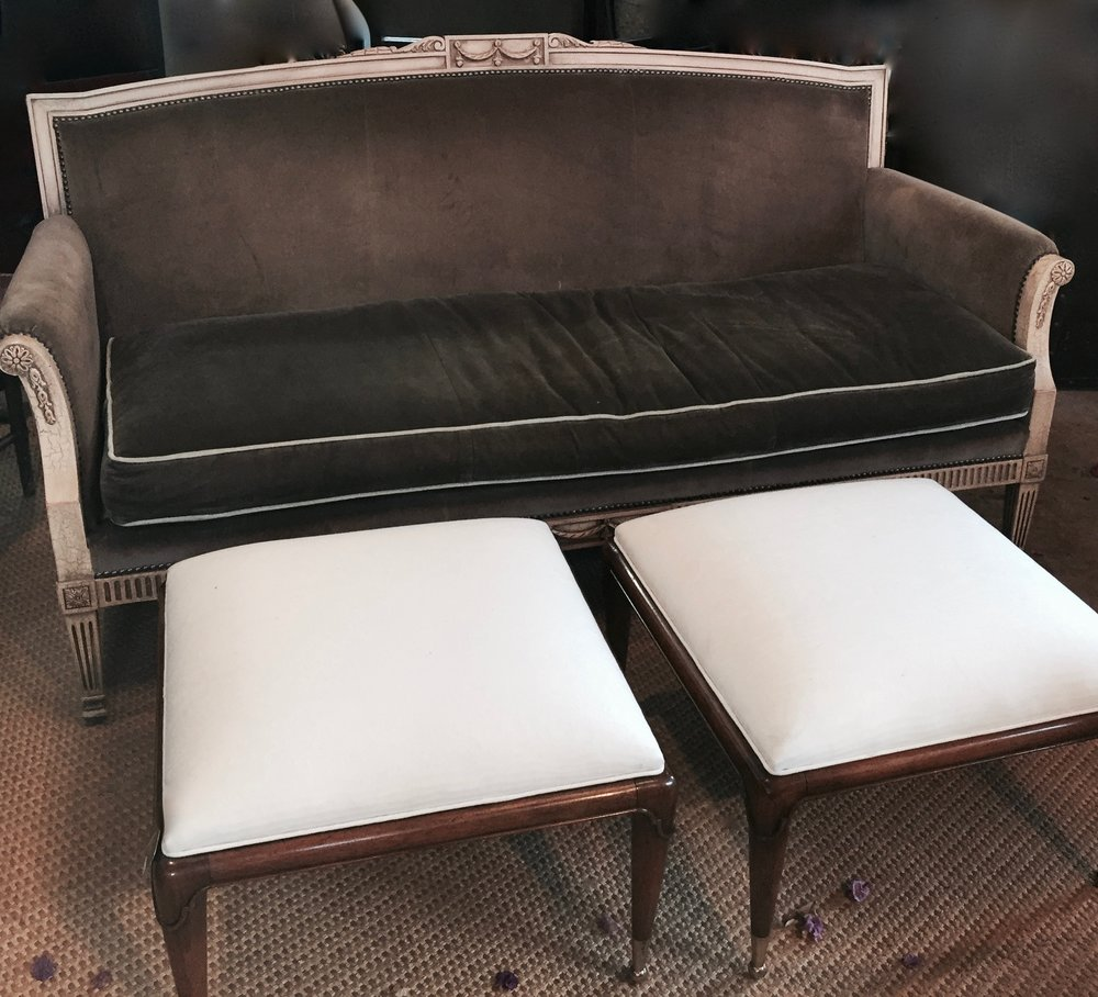 Velvet Settee and Two Ottomans