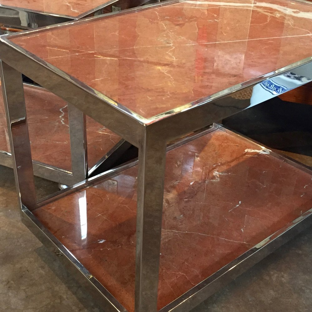 Stone and Chrome Side Tables