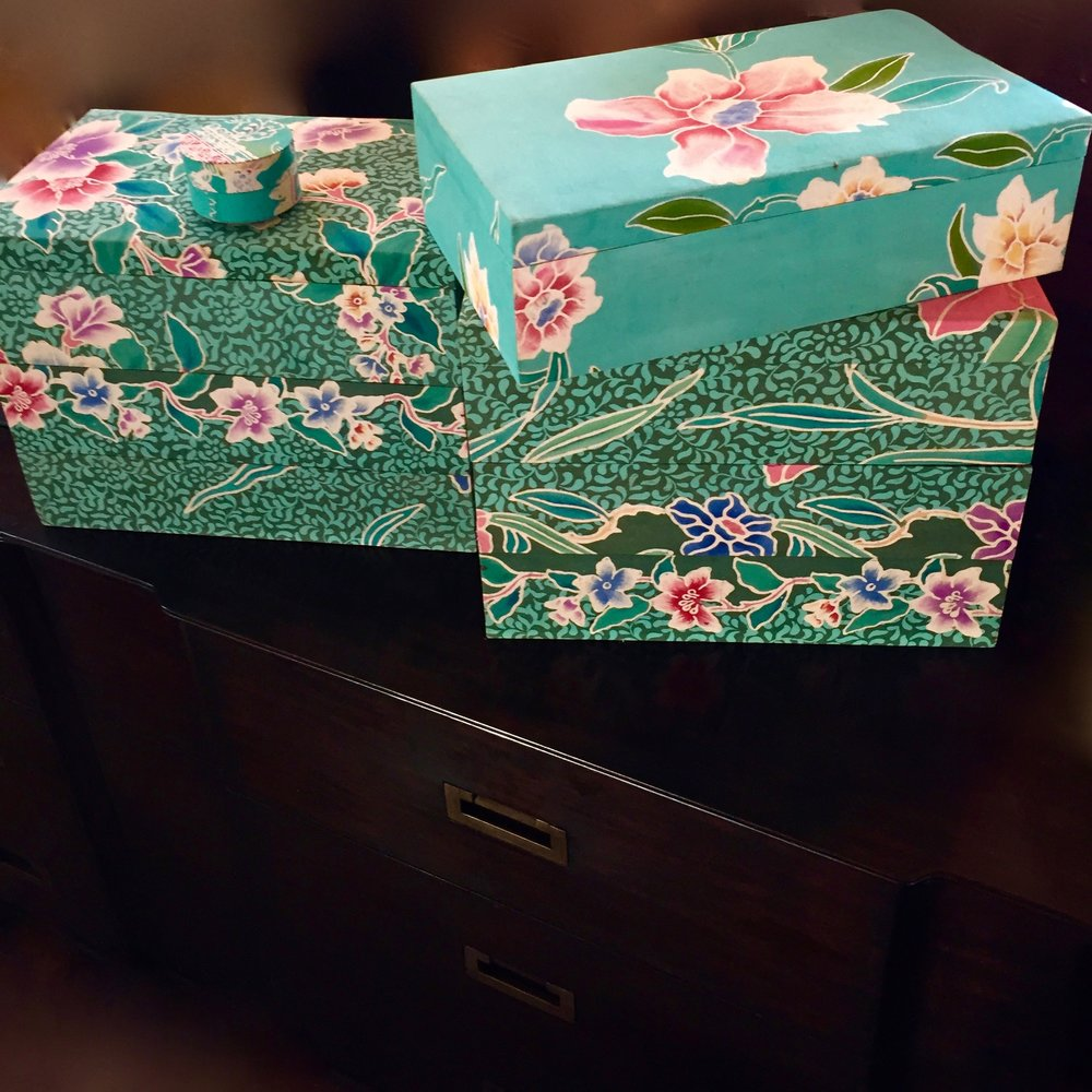 TEAL BATIK STACKING BOXES