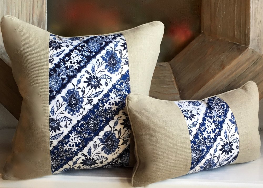 PAULA BLUE BATIK WITH NATURAL TWILL LINEN