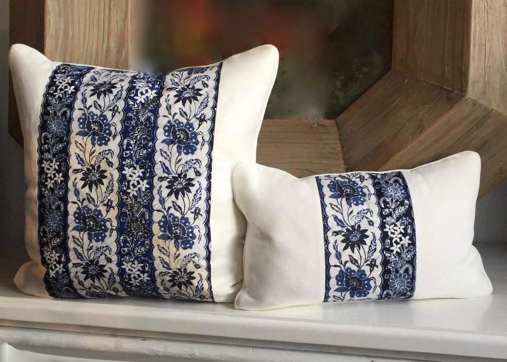 PAULA BLUE BATIK LINEN WITH IVORY TWILL LINEN