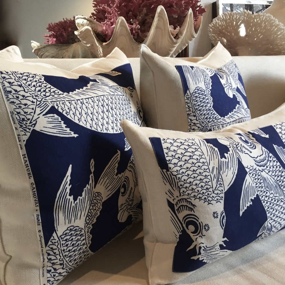 Indigo Koi Fish Patina Pillows