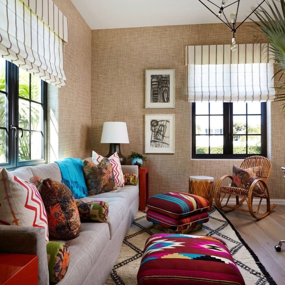 PAULA ROEMER BATIK PILLOWS / OFFICE - HOUSE BEAUTIFUL: DESIGNER: ELLEN KAVANAUGH