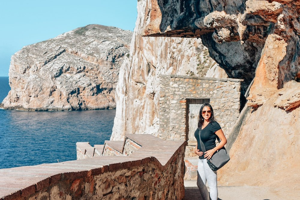 5 months pregnant and visiting Neptune's Grotto, Sardinia.