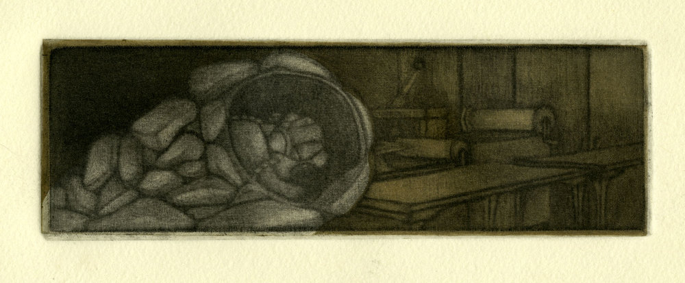 "Safety Blanket,  2012 Mezzotint 2"" x 6"""