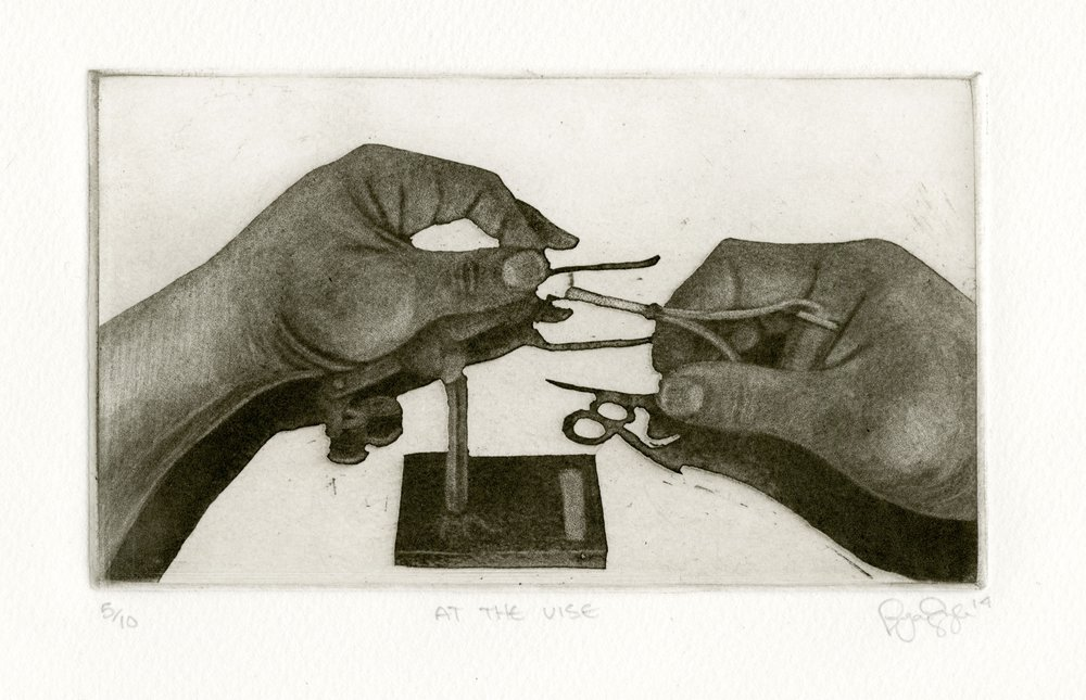 "At The Vise  , 2014  Reductive Aquatint  9 "" x 6"""