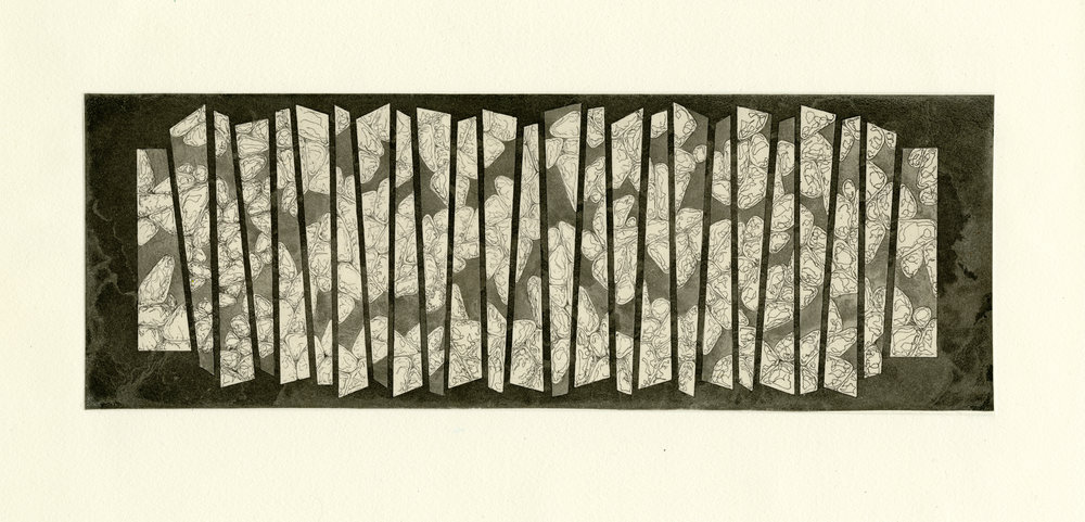 "Sediment , 2017  Etching 4"" x 16"""