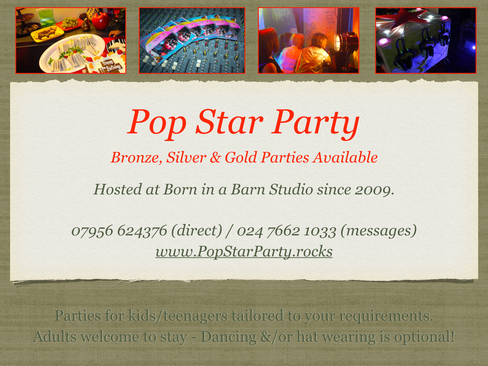BB Pop Star Party flier