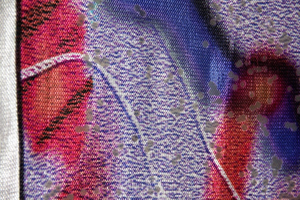 Emilie Carlsen, Digital Realism - Pink (detail), 2015. Digital print and analog printing on viscose silk in steel frame.