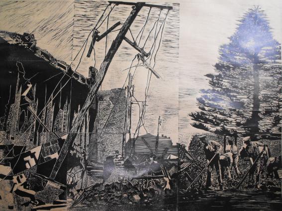 Collaborative print of napier earthquake 1930