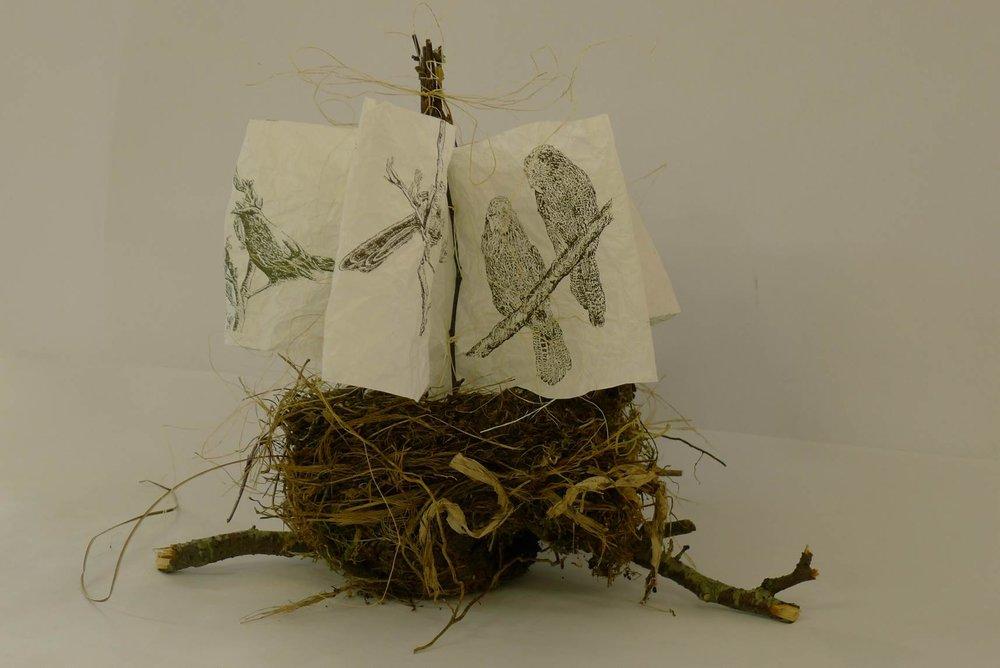 """Nested book of bird prints  """"adrift"""""""