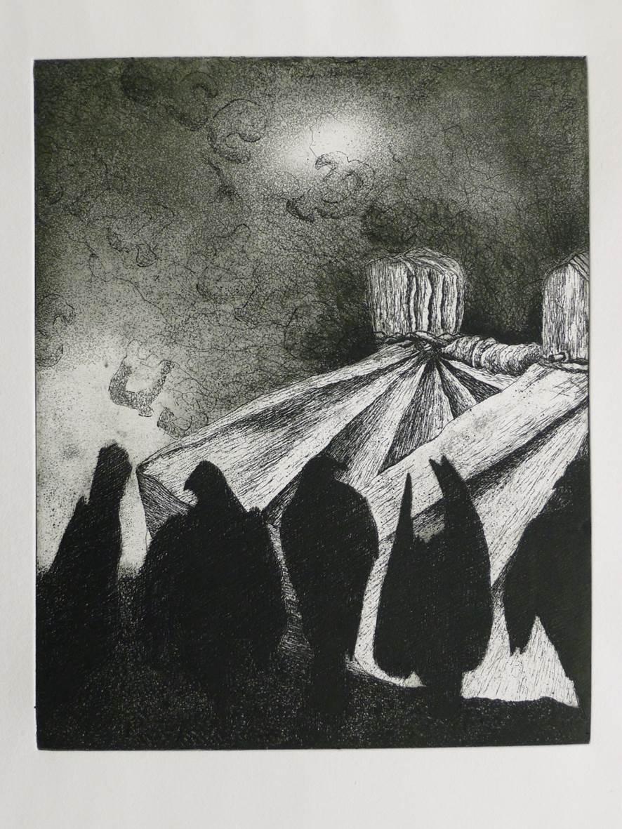 "zinc plate etching of patua for kereru  ""A distinctive sound"""
