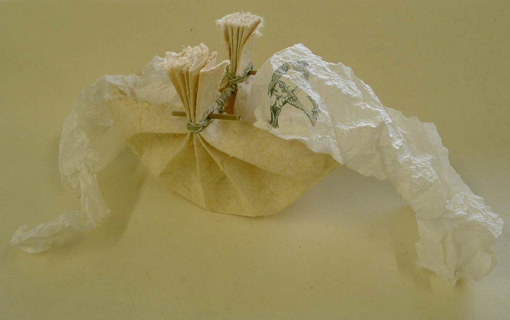 Flax paper patua with silkscreen print of kereru