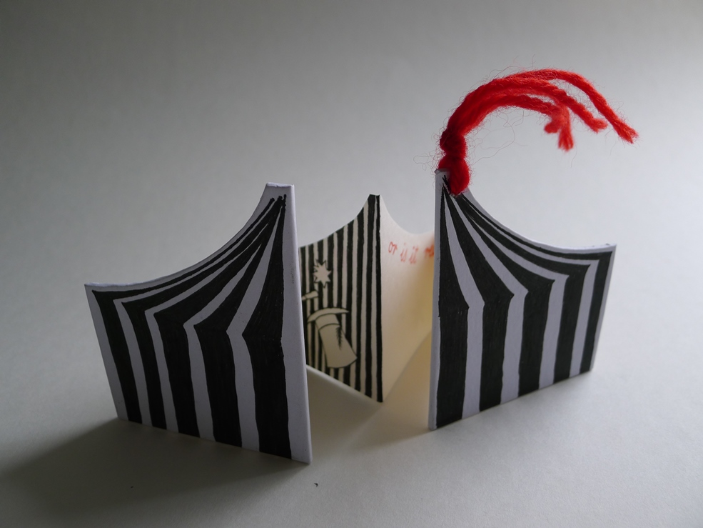 concertina with shaped card and pages themed on the big top