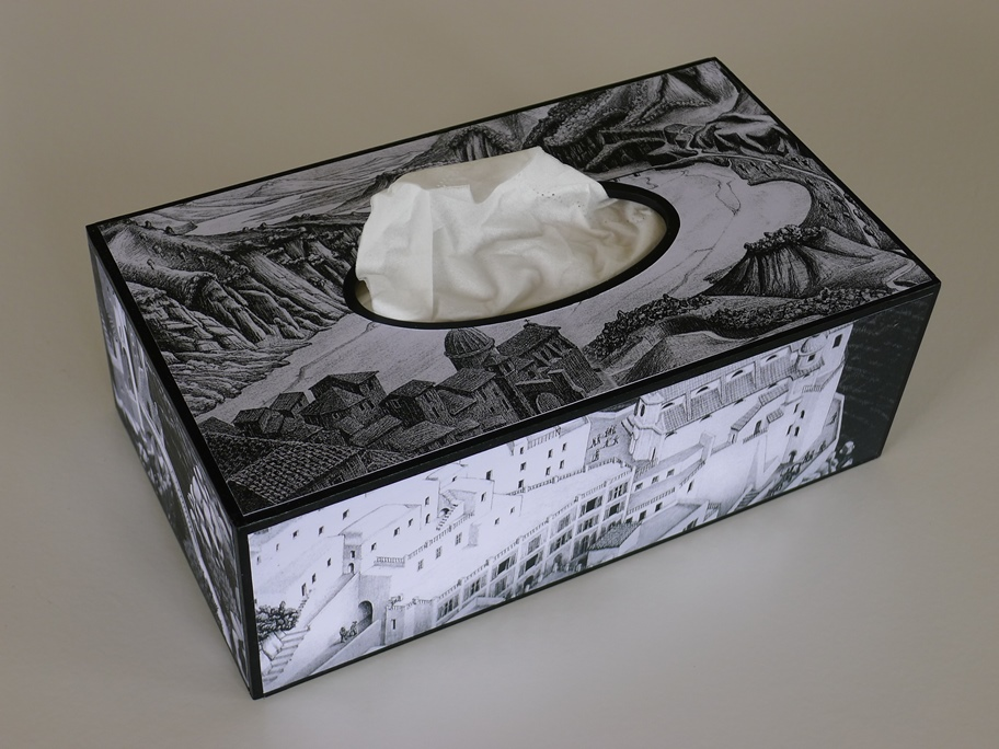 tissue box with m c escher imagery