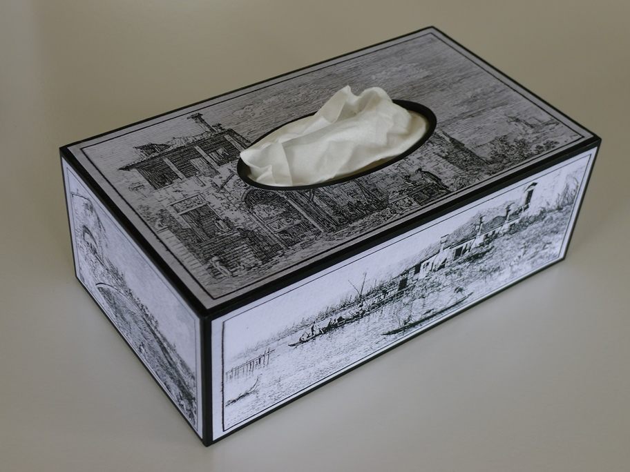 tissue box with canaletto etchings