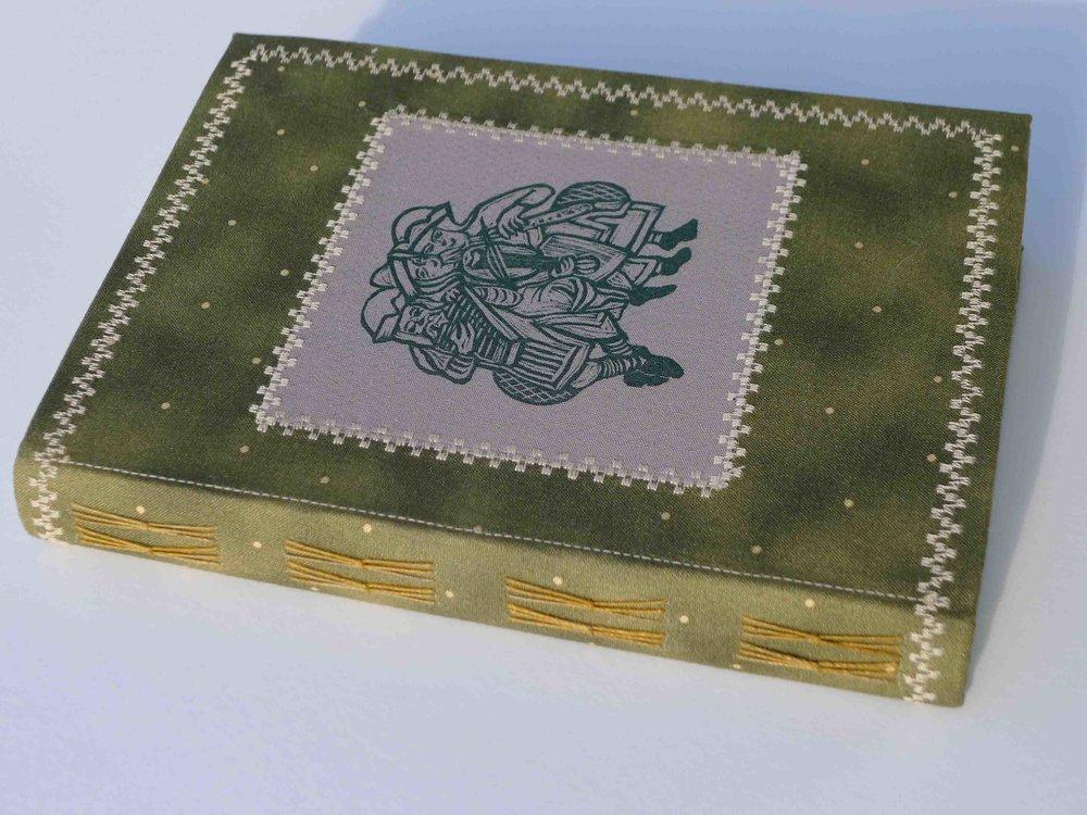 linocut print on fabric cover